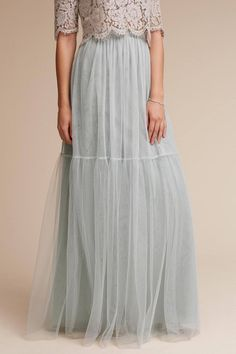 e0baaa5e3d Romantic + ethereal bridesmaid skirt idea - Jenny Yoo Collection- light  blue, tulle skirt for two-piece bridesmaid look. Style Blythe Skirt by  BHLDN.