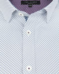 Micro print shirt - Blue | Printed Shirts | Ted Baker