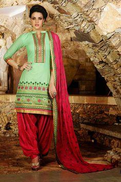 Sea Green & Red & Pink Cotton Punjabi Suit