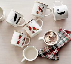 Pottery Barn Plaid Alphabet Mug. In the season's favorite pattern, the Plaid Alphabet Mug is a simple way to make giving more personal. Fill it with a small bag of your favorite cocoa mix or roasted coffee beans as a special gift. Alphabet Mugs, Letter Mugs, Christmas Time, Christmas Crafts, Christmas Decorations, Christmas Coffee, Merry Christmas, Christmas Baskets, Christmas Morning