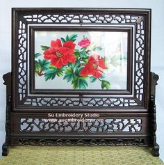 Peonies, double-sided embroidery work, one embroidery two identical sides, Chinese Suzhou silk embroidery art, Su Embroidery Studio