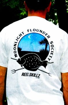Our new Moonlight Flounder Society T-shirts are in. These flounder gigging shirts are available in white, lt blue and lt green. $18.99 #flounder #gigging #fishing