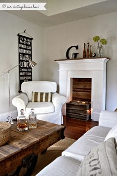 Faux Fireplace - Our Vintage Home Love The best solution to my want and what my husband doesn't want!
