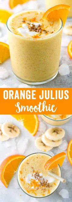 Orange Julius smoothie made with whole fruits, yogurt, orange juice and ground flaxseed. Each sip is naturally sweetened and contains healthy nutrients like fiber, vitamin C, and protein. via (Protein Fruit Smoothie Orange Juice) Spicy Recipes, Baby Food Recipes, Mexican Food Recipes, Dessert Recipes, Healthy Recipes, Drink Recipes, Yogurt Recipes, Keto Recipes, Dinner Recipes