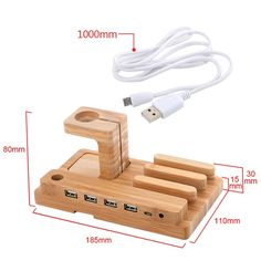 Premium Wooden 4 in 1 USB 4 Port Micro HUB Charging Watch Stand Dock Platform Cradle Holder For Sony For Huawei Phone S8 i Watch #Affiliate
