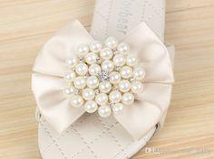 Cute EMS 2014 Summer Princess Girl Pearl Beads Bowknot Flower Sandals Kids Girl Child Beaded Bow Butterfly Slipper Shoe Rose Pink Beige D202...
