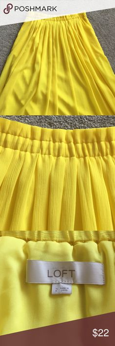 Loft yellow crepe skirt Lined with elastic waist. I never wore this but tags are gone LOFT Skirts Midi