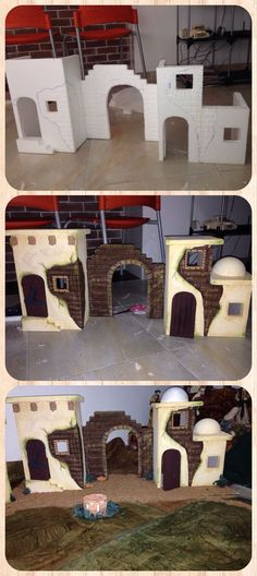 Belenes - not a tutorial but the pictures show how was designed Mehr Christmas Villages, Christmas Nativity, Christmas Crafts, Christmas Decorations, Xmas, Christmas Program, Miniature Houses, Diy Weihnachten, Miniture Things