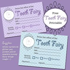 The Polka Dot Posie: Free Tooth Fairy Receipt Printable; print 9 per page to fit in Altoid tin The Polka Dot Posie: Free Tooth Fairy Receipt Printable; print 9 per page to fit in Altoid tin Tooth Fairy Note, Tooth Fairy Receipt, Tooth Fairy Pillow, Tooth Fairy Certificate, Loose Tooth, First Tooth, Thing 1, Little Ones, Activities For Kids