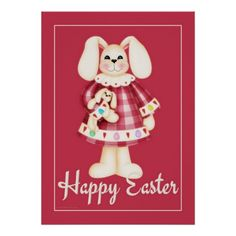 Easter Bunny Girl red easter wall art