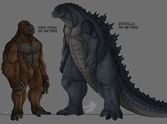 king kong and godzilla sizes (prediction) by austroraptorcabazai on DeviantArt All Godzilla Monsters, Godzilla Comics, King Kong Vs Godzilla, Godzilla Suit, Legendary Monsters, Classic Monsters, Creature Concept, Fantasy Creatures, Mythical Creatures