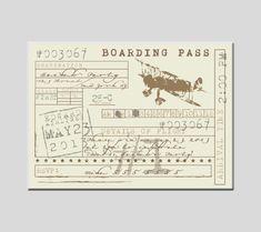 Vintage Airplane Ticket Birthday Party Invitation Plane Travel Invite