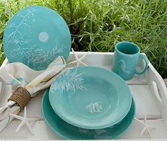 Aqua dinnerware with marine accents · Cottages And BungalowsBeach ... : beach cottage dinnerware - pezcame.com