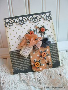 hand stamped halloween card-MASON JAR full of STARS and webs handmade card