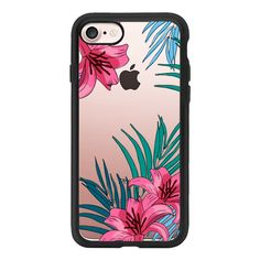 Tropical Florals - iPhone 7 Case And Cover ($40) ❤ liked on Polyvore featuring accessories, tech accessories, iphone case, apple iphone case, iphone cover case, floral iphone case, clear iphone case and iphone cases