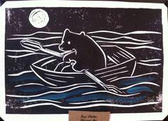 Row Bear little bear in rowboat Linocut Print by SuziLinden, $15.00