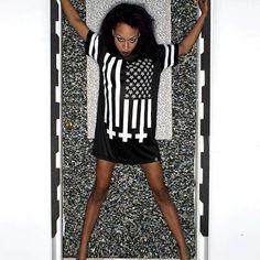 """Amerikunt"" Mesh Tee Available at www.crmc-clothing.co.uk | WE SHIP WORLDWIDE Model - @evie_cherrie Photography by @jstyle59 #vixen #starsandstripes #starspangledbanner #alternative #pentagram #fashionstatement #invertedcross #americunt #fashionista #meshtee #blackandwhite #alternativeblackgirl #blackmodel #blackgirlsrock #beautifulblackwomen #cute #beautiful #dailyfashion #styles #style #alternativegirl #alternativeteen #alternativeboy #Baphomet #love"