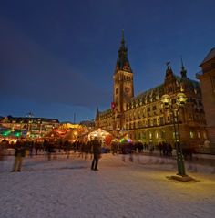 """Germany is famous for its Christmas markets, and the northern port city of Hamburg is no exception. The largest and most popular is located in the square outside Hamburg's impressive town hall, boasting the motto """"art instead of commerce."""" It is operated by Roncalli's Circus, with the traditional mulled wine (glühwein) served by clowns and circus artists. The market boasts a range of products from all over Germany, included gingerbread from Nuremberg and pottery from the Lausitz region."""