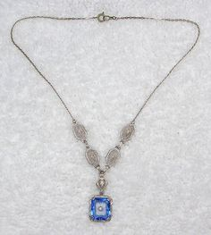 STUNNING RARE 1920'S ART DECO FILIGREE FAUX SAPPHIRE & CAMPHOR GLASS NECKLACE