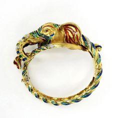 Vintage Italian 0.50ct Diamond & Enamel 18K Yellow Gold Elephant Bangle   eBay