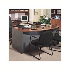 Bush Furniture Series C Executive Right L-Shape Wood Desk in Hansen Cherry