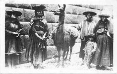This 1935 postcard of Peru  features a llama and some  native indians of Peru  in their ethnic costumes