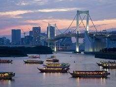 Evening View Of Rainbow Bridge And Houseboats, Tokyo, Japan