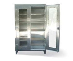 Stainless Steel Clear View Model - Our standard heavy duty 12 gauge stainless steel see-thru cabinet. This includes 14 gauge shelves that can be adjusted in 2 inch increments. locking device can be locked with a standard padlock. Stainless Steel Cabinets, Industrial Storage, Storage Solutions, Locker Storage, Hold On, Shelves, Model, Furniture, Home Decor