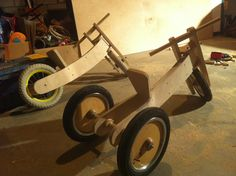 tricycle to balance bike - pictures, no plans, but pictures of building process & finished bikes