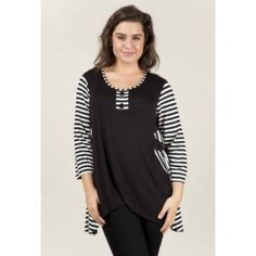 Long Striped Top in Sale Items, Tees, Casual, Black, Fashion, Moda, T Shirts, Black People, Tee Shirts