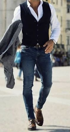Try this stylish men fashion attire for your next outing. - Men Jeans - Ideas of Men Jeans - Try this stylish men fashion attire for your next outing. Black Waistcoat, Men's Waistcoat, Waistcoat Men Casual, Mens Formal Vest, Formal Suits, Gilet Costume, Traje Casual, Mode Man, Stylish Mens Outfits
