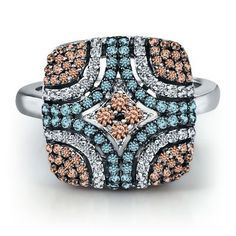 3/4 ct. tw. Blue, White diamonds.  Even prettier in person.