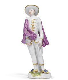 "A Meissen figure of ""Tartaglia"" from the Weissenfels series,modelled by Peter Reinicke, circa 1744."