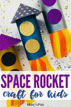 Easy cardboard roll rocketship craft for kids - Toddler craft project - Blast off into space with this easy cardboard roll rocketship craft. Toddlers and preschoolers will - Toddler Arts And Crafts, Halloween Crafts For Toddlers, Summer Crafts For Kids, Craft Activities For Kids, Diy For Kids, Big Kids, Childcare Activities, Easy Crafts For Toddlers, Simple Kids Crafts