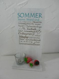 Deko Holzschild SommerBHT: ca 20 Erdbeeren und Kerzenglas Deco wooden sign SommerBHT: about 20 35 * strawberries and candle glass € Shipping € Bed Cover Design, Kitchen Ornaments, Make An Effort, Exterior Doors, Wooden Signs, Fresh Fruit, Linen Bedding, Land Scape, Place Card Holders