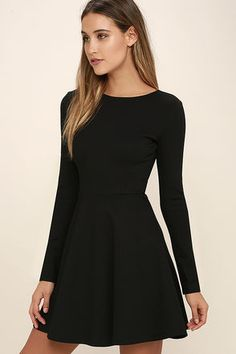 Just like red lipstick, white tees, and blue jeans, the Lulus Forever Chic Black Long Sleeve Dress will always be in style! Little Black Dress Outfit, Black Dress Outfits, Perfect Little Black Dress, Casual Dresses, Fashion Dresses, Dress Black, Black Funeral Dress, Little Black Dresses, Full Black Outfit