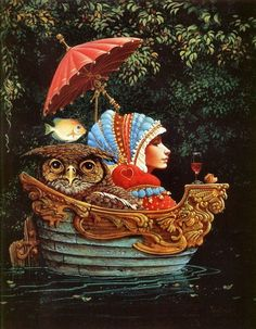 Just like a woman to try to be calm with uncomfortable accommodations surrounding and no way to move...  by James C Christensen