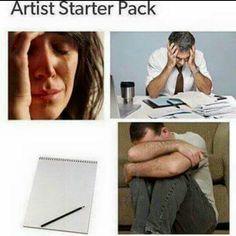 52 Great Pics And Memes to Improve Your Mood Art Memes, Memes Humor, Funny Memes, Hilarious, Jokes, Funny Art, Funny Starter Packs, Starter Kit, Artist Problems