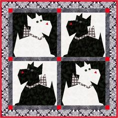 Scottie Paper Pieced Quilt Block