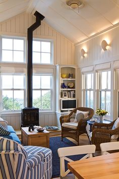 A GREAT great room! Classic blue and white color scheme. This room proves that painted paneled walls can be AMAZING! ~ Debi