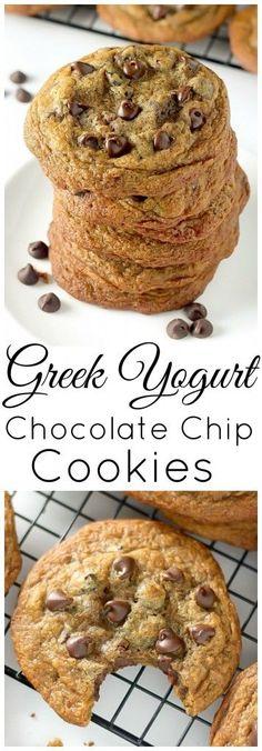 Greek Yogurt Chocolate Chip Cookies - thick, chewy, INCREDIBLE!