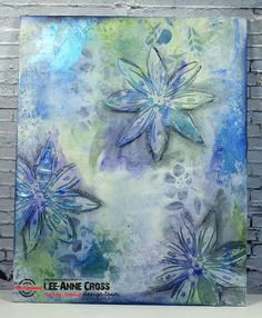 Stencil Sunday and Mixed Media Challenge Floral Canvas | Creatively LA