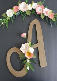 Set of Baby Girl Monogram Letter and Flower Floral Wall Adornments Embellishment Nursery Crib Decor Wood Monogram Letters, Initial Wall Art, Painting Wooden Letters, Floral Letters, Diy Letters, Floral Wall, Free Monogram, Letter Wall, Monogram Fonts