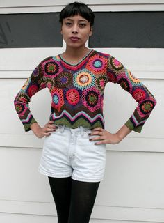 Vintage 1990's Crochet Open Knit Multicolor by mothersdaughtershop