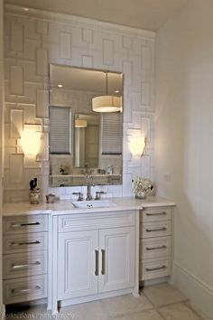 Bay Hill Design - bathrooms - Walker Zanger Fretwork Pattern Decorative Field Tile, fretwork tiles, walker zanger tiles, fretwork pattern ti... Love the Fretwork tile! ~ C.N.