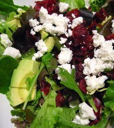 Christmas Salad- Greens, Dried Cranberry, Feta Crumbles and Avocado