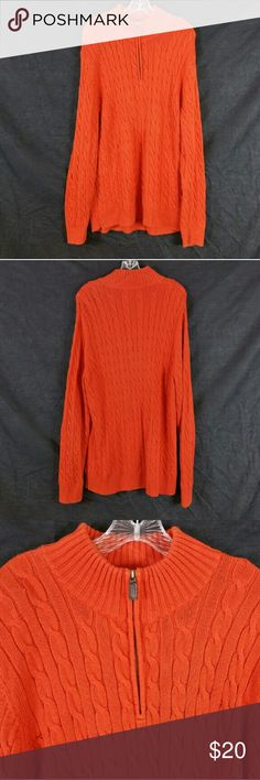 "Mens Old Navy Orange Cable Sweater Size XL In great condition, armpit to armpit 24"", length 32"", material 100% cotton. Add to a bundle to receive 20% off 3 or more items. Offers Welcomed. bin p. Old Navy Sweaters Zip Up"