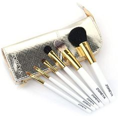 6 Pieces Makeup Brush Set Zoreya Travel Size Tools Toiletry Bag Gold * Click on the image for additional details. (This is an affiliate link) #MakeupBrushesTools