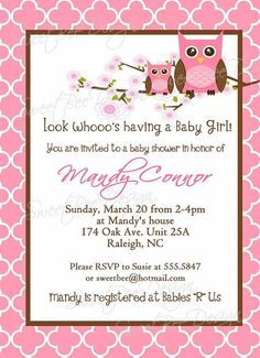 Owl Baby Shower Invitation - Momma and baby girl owl - Custom Printable Baby Shower Invites For Girl, Baby Shower Invitations, Baby Decor, Baby Shower Decorations, Owl Shower, Shower Ideas, Baby Girl Owl, Owl Invitations, Baby Shower Gender Reveal