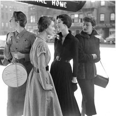 "wehadfacesthen: "" A fashion photo by Gordon Parks, New York City, 1949 Young Dovima is second from right "" Gordon Parks, Vintage Fashion Photography, Glamour Photography, 1940s Outfits, Vintage Outfits, 1940s Dresses, Vintage Photographs, Vintage Photos, What Is Vintage"